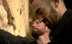 Ike Davis (background) and Josh Zeid at the Western Wall